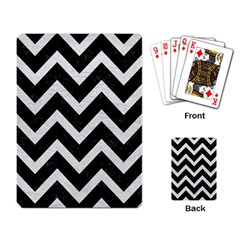 Chevron9 Black Marble & White Leather (r) Playing Card