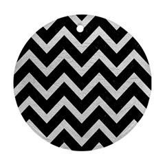 Chevron9 Black Marble & White Leather (r) Round Ornament (two Sides)