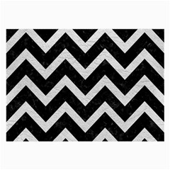 Chevron9 Black Marble & White Leather (r) Large Glasses Cloth (2 Side)