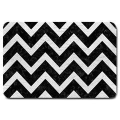 Chevron9 Black Marble & White Leather (r) Large Doormat