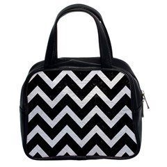 Chevron9 Black Marble & White Leather (r) Classic Handbags (2 Sides)