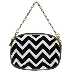 Chevron9 Black Marble & White Leather (r) Chain Purses (one Side)