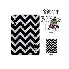 Chevron9 Black Marble & White Leather (r) Playing Cards 54 (mini)