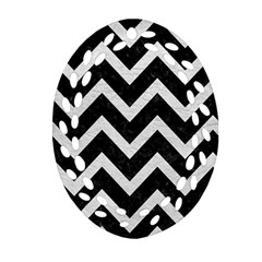 Chevron9 Black Marble & White Leather (r) Oval Filigree Ornament (two Sides)