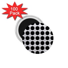 Circles1 Black Marble & White Leather 1 75  Magnets (100 Pack)