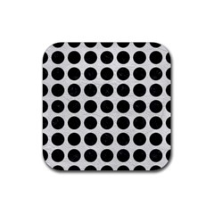 Circles1 Black Marble & White Leather Rubber Coaster (square)
