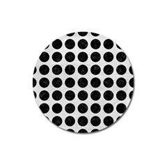 Circles1 Black Marble & White Leather Magnet 3  (round)