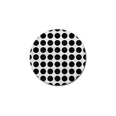 Circles1 Black Marble & White Leather Golf Ball Marker (4 Pack)