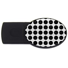 Circles1 Black Marble & White Leather Usb Flash Drive Oval (2 Gb)