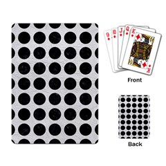 Circles1 Black Marble & White Leather Playing Card