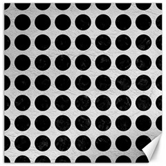 Circles1 Black Marble & White Leather Canvas 12  X 12