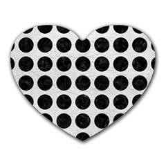 Circles1 Black Marble & White Leather Heart Mousepads