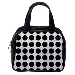 Circles1 Black Marble & White Leather Classic Handbags (one Side)