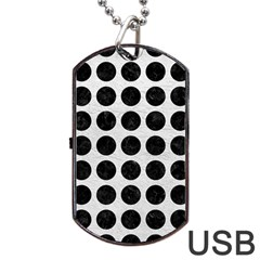 Circles1 Black Marble & White Leather Dog Tag Usb Flash (two Sides)