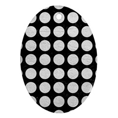 Circles1 Black Marble & White Leather (r) Ornament (oval)