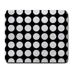 Circles1 Black Marble & White Leather (r) Large Mousepads