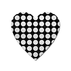 Circles1 Black Marble & White Leather (r) Heart Magnet