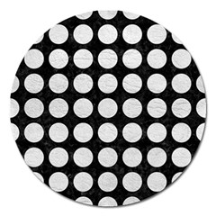Circles1 Black Marble & White Leather (r) Magnet 5  (round)