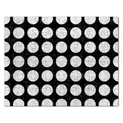 Circles1 Black Marble & White Leather (r) Rectangular Jigsaw Puzzl