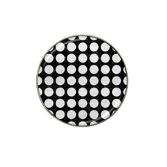 Circles1 Black Marble & White Leather (r) Hat Clip Ball Marker (4 Pack)