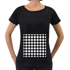 Circles1 Black Marble & White Leather (r) Women s Loose Fit T Shirt (black)