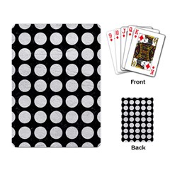 Circles1 Black Marble & White Leather (r) Playing Card