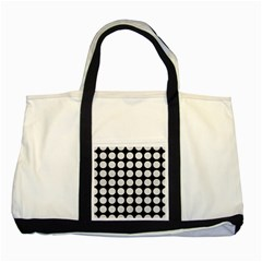 Circles1 Black Marble & White Leather (r) Two Tone Tote Bag