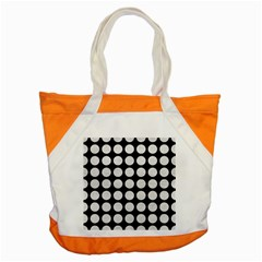 Circles1 Black Marble & White Leather (r) Accent Tote Bag