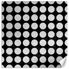 Circles1 Black Marble & White Leather (r) Canvas 16  X 16