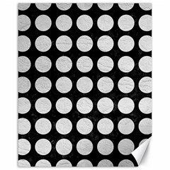 Circles1 Black Marble & White Leather (r) Canvas 16  X 20