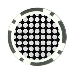 Circles1 Black Marble & White Leather (r) Poker Chip Card Guard