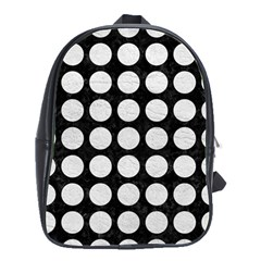 Circles1 Black Marble & White Leather (r) School Bag (large)