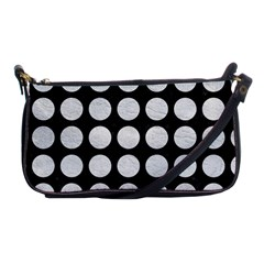 Circles1 Black Marble & White Leather (r) Shoulder Clutch Bags