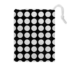Circles1 Black Marble & White Leather (r) Drawstring Pouches (extra Large)