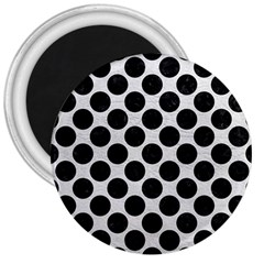 Circles2 Black Marble & White Leather 3  Magnets