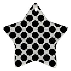 Circles2 Black Marble & White Leather Ornament (star)