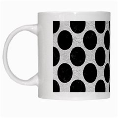 Circles2 Black Marble & White Leather White Mugs