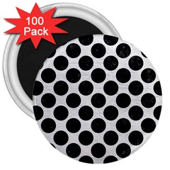 Circles2 Black Marble & White Leather 3  Magnets (100 Pack)