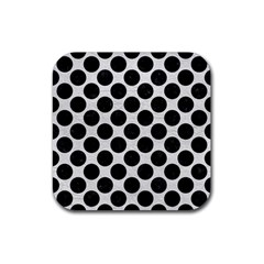 Circles2 Black Marble & White Leather Rubber Square Coaster (4 Pack)