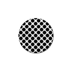 Circles2 Black Marble & White Leather Golf Ball Marker