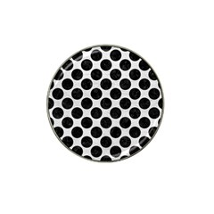 Circles2 Black Marble & White Leather Hat Clip Ball Marker