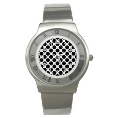 Circles2 Black Marble & White Leather Stainless Steel Watch