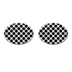 Circles2 Black Marble & White Leather Cufflinks (oval)