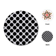 Circles2 Black Marble & White Leather Playing Cards (round)
