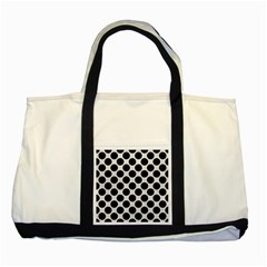 Circles2 Black Marble & White Leather Two Tone Tote Bag