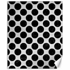 Circles2 Black Marble & White Leather Canvas 16  X 20
