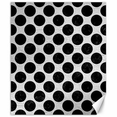 Circles2 Black Marble & White Leather Canvas 20  X 24
