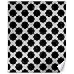 Circles2 Black Marble & White Leather Canvas 11  X 14