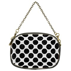 Circles2 Black Marble & White Leather Chain Purses (one Side)