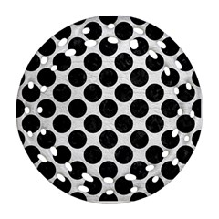 Circles2 Black Marble & White Leather Round Filigree Ornament (two Sides)